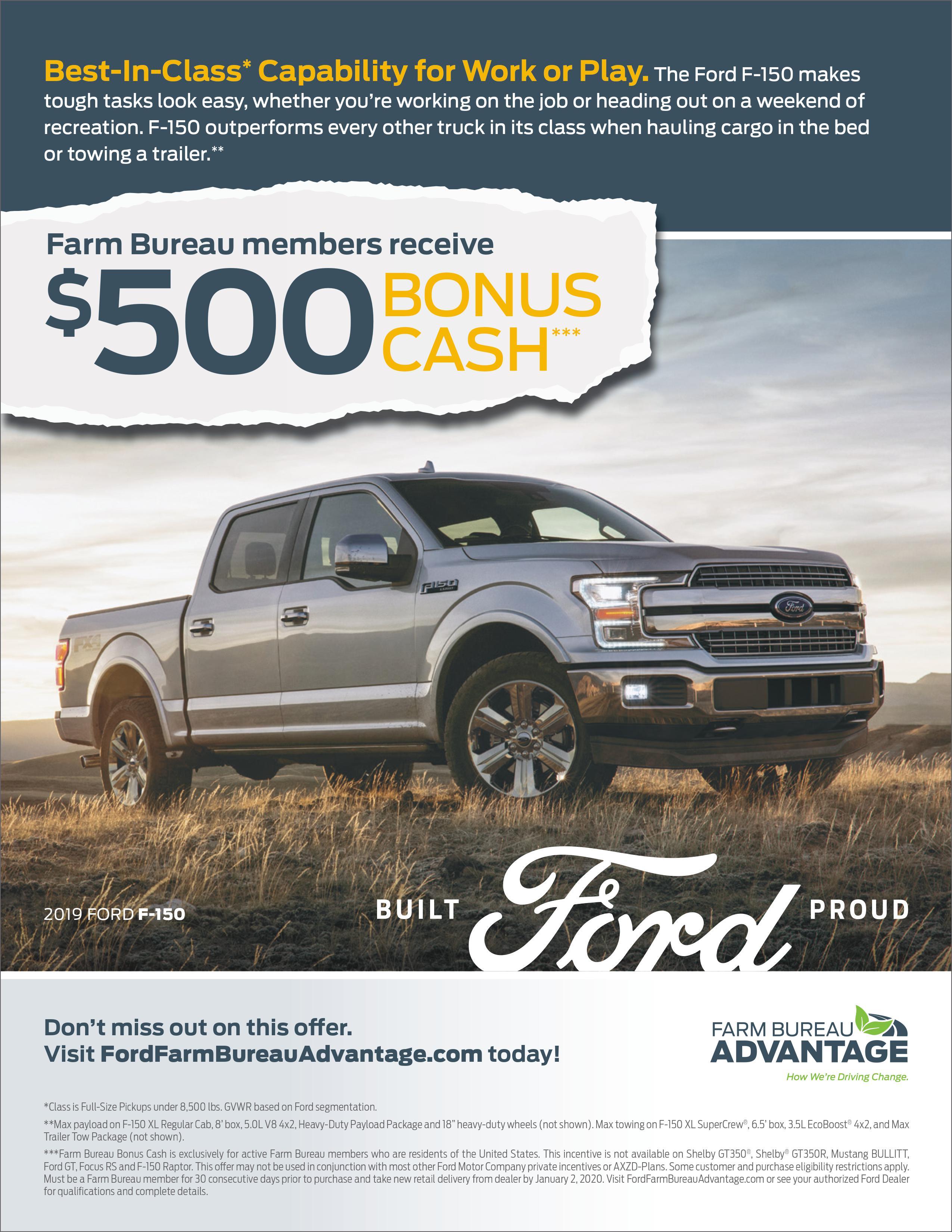 Ford $500 Bonus Cash – Rhode Island Farm Bureau